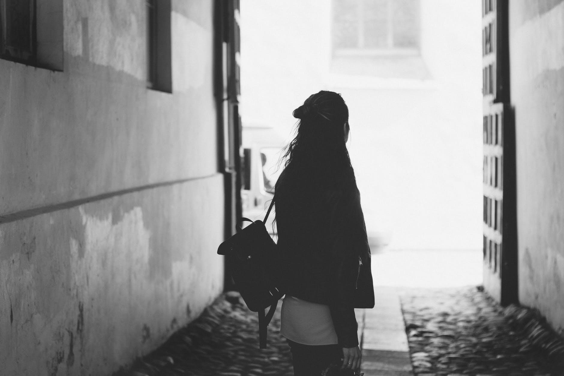 woman facing back photo